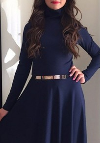 Navy Blue Draped Pleated High Neck Long Sleeve Homecoming Party Maxi Dress