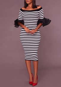 White-Black Striped Print Ruffle Off Shoulder Flutter Sleeve Banquet Party Prom Midi Dress