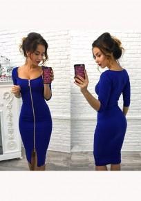 Vestido A media pierna liso con cremallera u-cuello manga tres cuartos moda azul