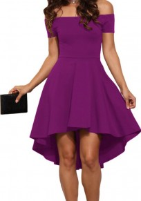 Purple Off-Shoulder High-low Boat Neck A-Line Swallowtail Short Sleeve Skate Midi Dress