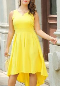 Vestido A media pierna fiesta de cola de golondrina con cola irregulares talla grande amarillo