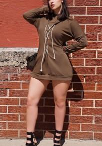 Mini robe cordon de serrage croisé naketano? sweat à capuche manche longue marron
