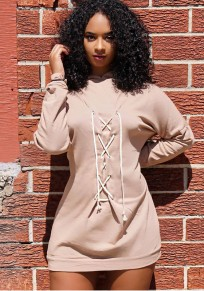 Light Pink Cross Drawstring Lace-up Naketano?Hoodie Long Sleeve Mini Dress