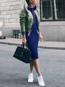 Midi-robe uni poches encolure haute manches longues décontracté bleu
