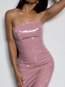 Midi-robe bandeau à sans manches clubwear mode clubwear rose