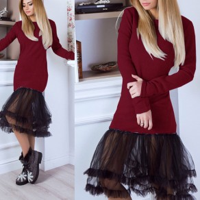 Wine Red Patchwork Grenadine Round Neck Long Sleeve Sweet Midi Dress