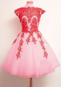 Pink Patchwork Lace Grenadine Fluffy Puffy Tulle Bridesmaid Homecoming Party Sweet Midi Dress