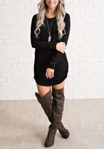 Dentelle irrégulière manches longues chemise ruchée mini robe noire