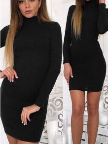 Mini abito pianura collo alto manica lunga moda nero