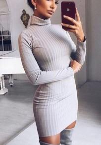 Mini abito pianura collo alto manica lunga moda grigio