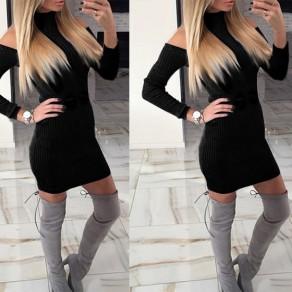 Mini vestido corte drapeado cuello de banda manga larga negro