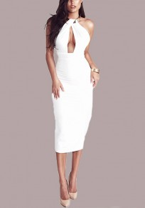 White Cut Out Metal Collar Halter Neck Backless Bodycon Club Midi Dress