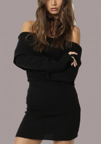 Black Off Shoulder Backless Maternity Long Sleeve Homecoming Party Sweater Mini Dress