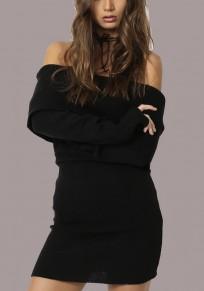 Mini vestido fuera de hombro maternidad sin espalda manga larga suéter de fiesta de bienvenida negro