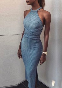 Midi-robe découpes dos croisé bander fente sur le dos bleu