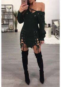 Mini vestido corte asimétrico hombro con cordones manga larga club suéter verde oscuro