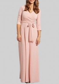 Pink Sashes Plunging Neckline 3/4 Sleeve Maxi Dress