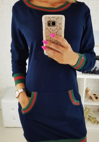 Sapphire Blue Patchwork Pockets Round Neck Long Sleeve Fashion Mini Dress