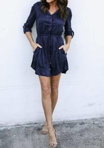 Mini robe poches à cordon de serrage à col clouté bleu marine