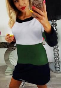 Mini-robe lien de serrage arrière col rond mode vert armée