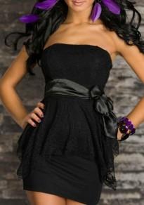 Mini abito fusciacche in pizzo floreale senza schienale da sera festa di ballo nero
