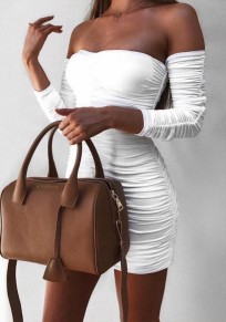 Weiß Kordelzug Rüschen Boot-Ausschnitt Langarm Mode Minikleid