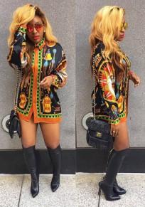 Black Tribal Floral Print Turndown Collar Fashion Long Blouse Mini Dress