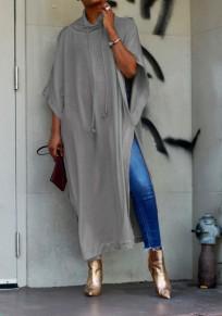 Robe longue tee-shirt fendu le côté col roulé manches chauve souris décontracté gris