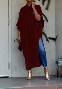 Wine Red Double Slit High Neck Dolman Sleeve Fashion Maxi Dress