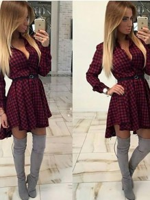 Burgundy Plaid Print Draped Irregular Deep V-neck Long Sleeve Mini Dress