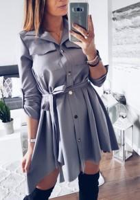 Mini-robe chemisier single bouton poches ceinture col à revers manches longues mode foncé gris