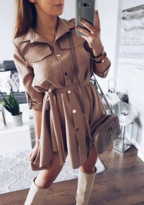 Dark Khaki Turndown Collar Irregular Belt Single Breasted Fashion Shirt Mini Dress