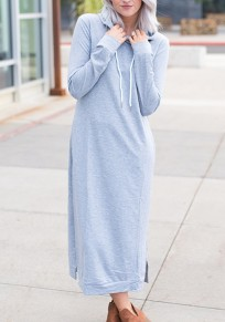 Grey Pockets Drawstring Slit Long Sleeve Hooded Maxi Dress