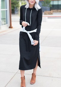 Robe longue fendu le côté manches longues décontracté à capuche sweatshirt fenmme blanc