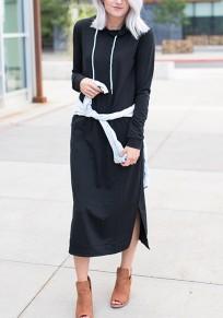 Black Pockets Drawstring Slit Long Sleeve Hooded Maxi Dress