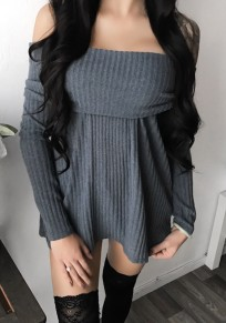 Grey Off Shoulder Long Sleeve Fashion Knitwear Mini Dress