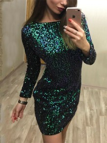 Green Sequin Zipper Round Neck Fashion Mini Dress