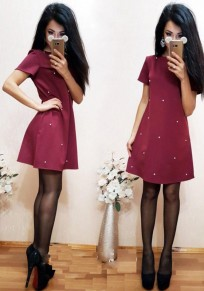 Wine Red Pearl Draped Round Neck Short Sleeve Fashion Midi Dress