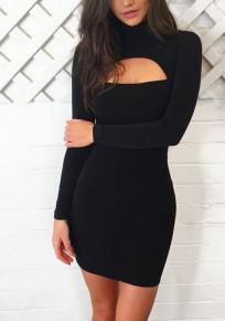 Mini vestido liso corte cuello alto negro