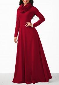 Vestido largo cremallera drapeada cuello alto de la capucha casuales navidad rojo