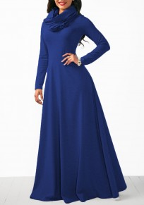 Blue Draped Zipper High Waisted Cowl Neck Casual Maxi Dress