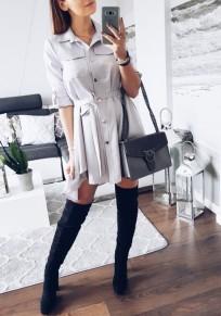 Light Grey Plain Sashes Pockets Irregular Pleated Turndown Collar Fashion Mini Dress
