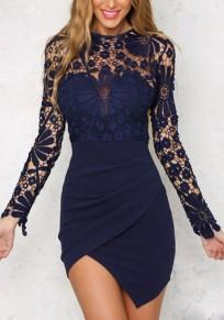 Mini vestido cremallera irregulares de encaje cuello redondo azul marino