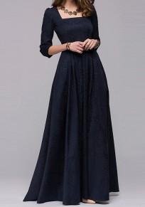 Navy Blue Irregular Square Neck 3/4 Sleeve Maxi Dress