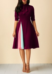 Burgundy Bow Draped Lace-up Formal Tutu Homecoming Party Midi Dress