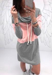 Grey Pink Patchwork Print Drawstring Ruffle Collar Fashion Mini Dress