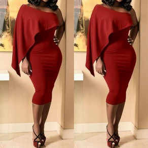 Wine Red Irregular Asymmetric Shoulder Ruffle Fashion Midi Dress
