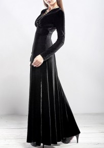 Black Irregular Pleated V-neck Long Sleeve Fashion Maxi Dress