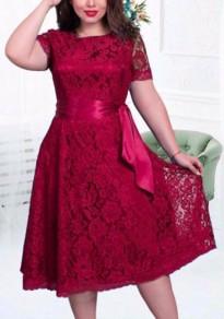 Burgundy Lace Draped Sashes Bandage Plus Size Banquet Elegant Midi Dress