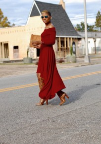 Burgundy Irregular Off Shoulder High-Low Flowy Elegant Party Maxi Dress